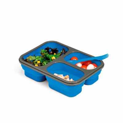 Crazy Ideas - Marmita retrátil. Silicone e PP. Com 3 compartimentos e talher 2 em 1 (garfo e colher). Capacidade: 2 x 390 ml + 700 ml. Food grade. 241 x 176 x 68 mm...
