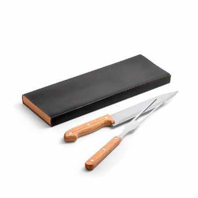 Crazy Ideas - Kit churrasco. Aço inox e bambu. 2 peças em caixa kraft. Food grade. Caixa: 340 x 115 x 25 mm.