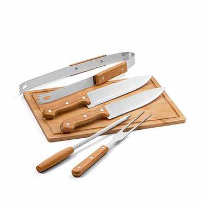 crazy-ideas - Kit churrasco. Aço inox e madeira. Tábua em bambu e 5 peças em estojo de 210D. Food grade. Estojo: 350 x 230 x 40 mm | Tábua: 300 x 200 x 12 mm.