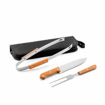 Crazy Ideas - Kit churrasco. Aço inox e madeira. 3 peças em estojo de 210D. Food grade. Estojo: 350 x 130 x 20 mm.