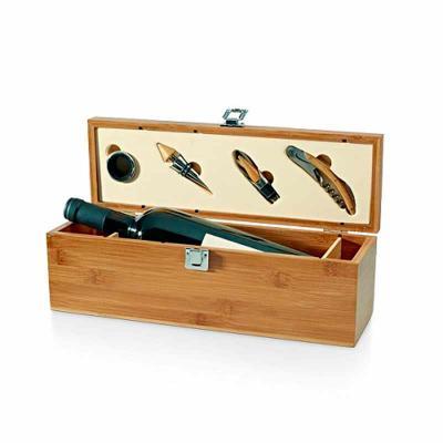 Conjunto para vinho de bambu e zinco personalizado