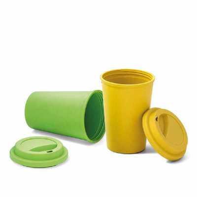 - Copo para viagem. Fibra de bambu e PP. Com tampa. Capacidade até 450 ml. Food grade. ø93 x 134 mm.