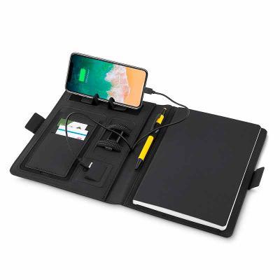 Caderno com carregador power bank por indução personalizado