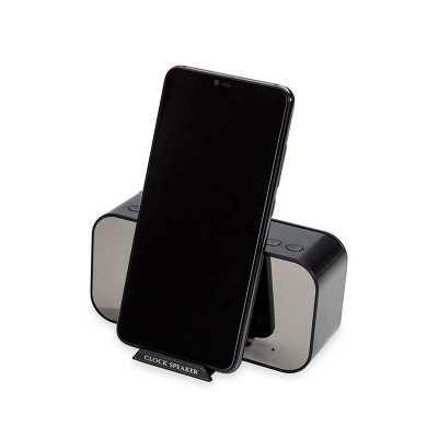 Caixa de som multimídia com relógio despertador e suporte para celular