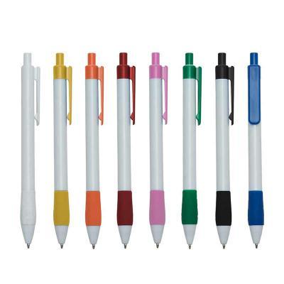 Crazy Ideas - Caneta plástica branca com detalhes coloridos