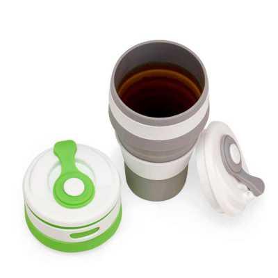 crazy-ideas - Copo de Silicone retrátil com tampa plástica e proteção do bico em silicone, capacidade 500ml.