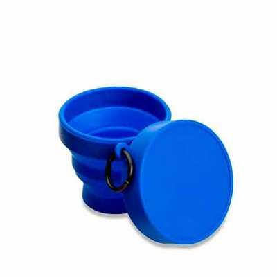 Crazy Ideas - Copo retrátil 150ml de borracha termoplástica, possui tampa de encaixe com argola plástica.