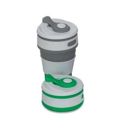 """Copo retrátil 350ml de silicone, livre de BPA. Tampa plástica de encaixe com abertura para o bocal, acompanha """"luva"""" plástica branca, evitando queimar... - Crazy Ideas"""
