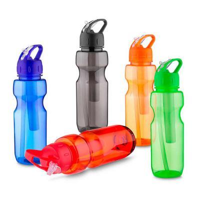 Garrafa plástica 700 ml com porta gelo e canudo, plástico utilizado AS (estireno de acrilonitrilo).