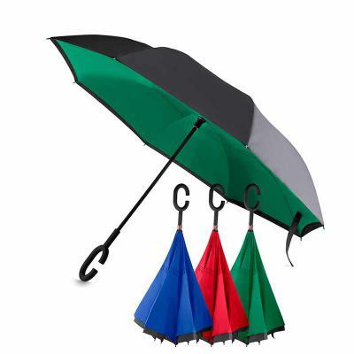 - Guarda-chuva invertido com cabo plástico e haste de metal, botão acionador para abertura automática, tecido ponge chinês, seda crua poliéster, oito va...