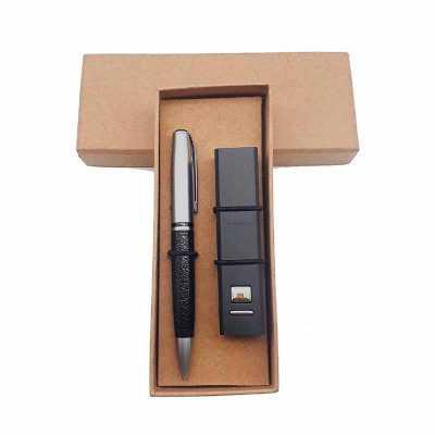 Crazy Ideas - Kit contendo caneta de metal e power bank em embalagem kraft.