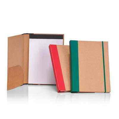 Crazy Ideas - Pasta A4, capa dura em papel kraft, com bloco de anotações e elástico.