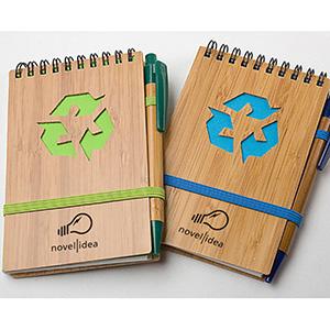 crazy-ideas - Bloco de anotações ecológico de bambu acompanha caneta de bambu.