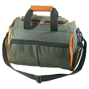Bolsa personalizada em poliéster 600, com 1 bolso frontal, bolsos nas laterais, alças de mão e ombro - Medidas: 44 x 29 x 33 cm.