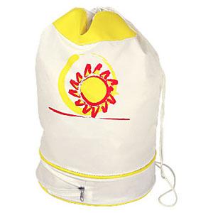 Bolsa saco personalizada em nylon 330, com bolso extensor inferior, tamanho médio - Medidas: 26 x 45 x 26 cm.