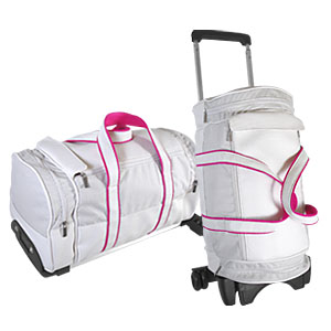 Crazy Ideas - Bolsa de viagem personalizada em poliéster 600, detalhe em sintético quadrado, bolsos laterais, acompanha carrinho.