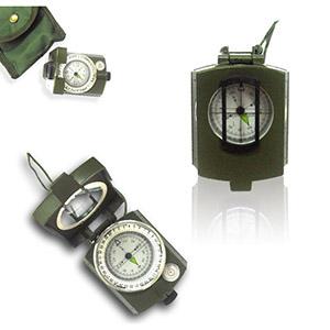 Bússola com clinômetro, lente com mira e bolha de nível
