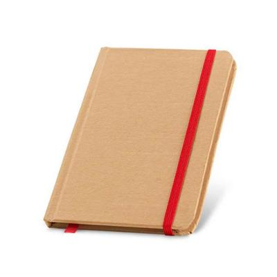 Caderno. Cartão. Capa dura. Com 80 folhas não pautadas de papel reciclado. 100 x 140 mm.