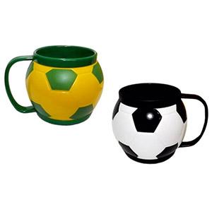Crazy Ideas - Minicaneca no formato de um bola de futebol, capacidade para 200 ml, nas cores amarelo e verde ou preto e branco