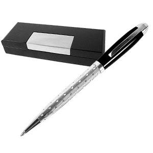 Crazy Ideas - Caneta esferográfica personalizada feminina em prata 925 grife laban, acompanha estojo de madeira preto envernizado.