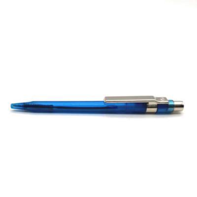crazy-ideas - Caneta plástica Italiana translúcida na cor azul com detalhe cromado.