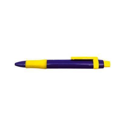 Caneta plástica Italiana na cor azul e detalhes em amarelo.