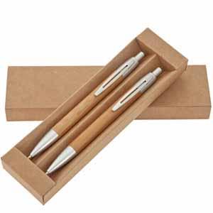 Conjunto de caneta e lapiseira em bambu acompanha embalagem em papelão - Crazy Ideas