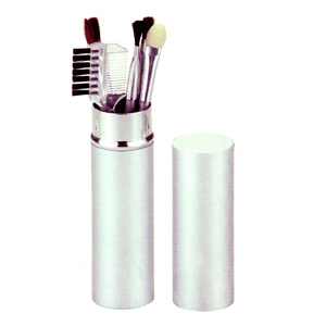Conjunto de maquiagem personalizado com embalagem em tubo de alumínio.
