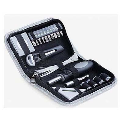 Estojo de ferramentas personalizado contendo: chave de pontas, 01 estilete, 01 trena e abraçadeiras.