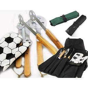 Crazy Ideas - Kit churrasco com detalhes futebol e avental na cor verde ou preto