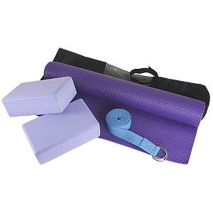 Kit Yoga personalizado lilás, tapete 1,80 m, dois blocos em EVA, cinto reforçado com argolas de metal 2,40 m. Bolsa em nylon. - Crazy Ideas