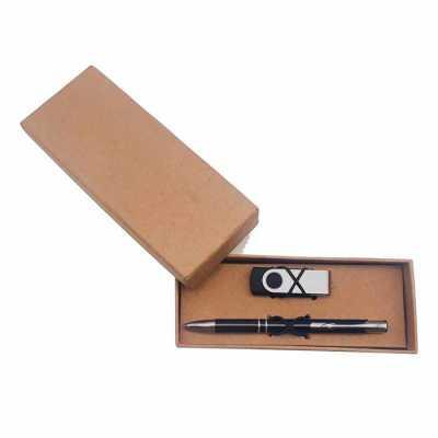Kit pen drive giratório com capacidade de 4gb com caneta em embalagem kraft. - Crazy Ideas