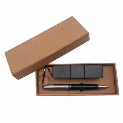 Kit power bank e caneta em embalagem kraft - Crazy Ideas
