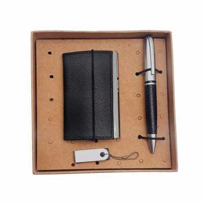 Kit 3 peças contendo porta cartão, pen drive com capacidade de 4gb e caneta metal em embalagem kraft. - Crazy Ideas