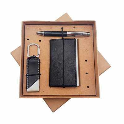 Kit com porta cartão, caneta de metal e chaveiro em embalagem kraft - Crazy Ideas