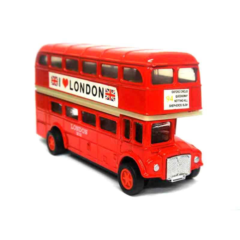 Crazy Ideas - Miniatura promocional realista e fiel dos tradicionais ônibus londrinos.