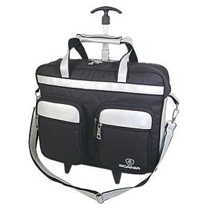 Crazy Ideas - Pasta personalizada em poliéster 600, com sintético perfuro, carrinho, porta notebook na costa, 2 bolsos frontais com bolsos envelope, alças de mão e...