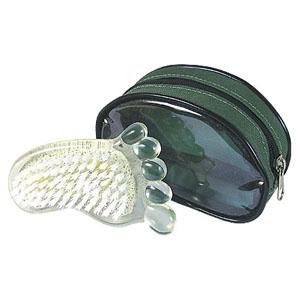 crazy-ideas - Pedra pome personalizada em formato de pé, com escova, material plástico transparente verde, acompanha necessaire. Sua marca cuidando da beleza e bem...
