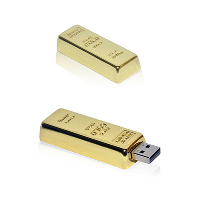Crazy Ideas - Pen Drive 4GB em formato de barra de ouro.