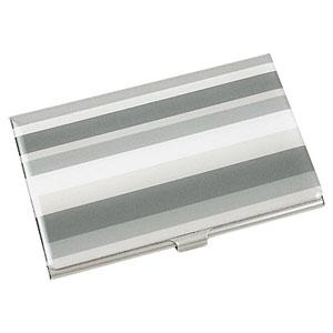 Crazy Ideas - Porta cartão personalizado em metal com detalhe em resina plastificada e degrade cinza - Medidas: 9 x 6 cm.