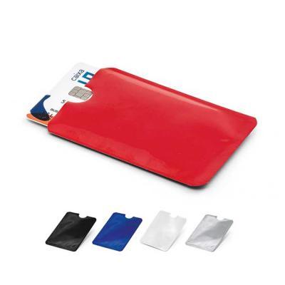 Porta cartões. Alumínio. Com tecnologia de bloqueio RFID. 92 x 63 mm.