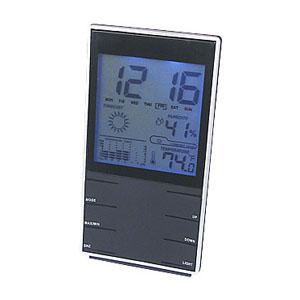 crazy-ideas - Relógio de mesa personalizado preto, com marcador de temperatura, umidade e calendário.