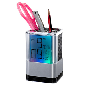 Relógio de mesa digital personalizado com porta lápis (marca dia, hora e temperatura).
