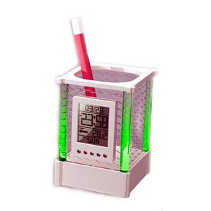 Crazy Ideas - Relógio de mesa digital personalizado com porta lápis (marca dia, hora e temperatura).