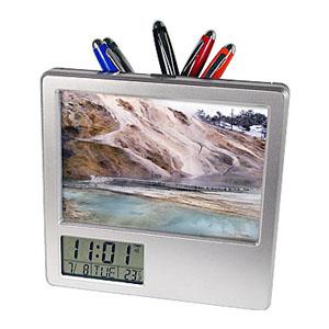 crazy-ideas - Relógio de mesa personalizado em plástico com porta retrato e porta caneta, com marcador de temperatura e calendário - Foto tamanho 12 x 8 cm.