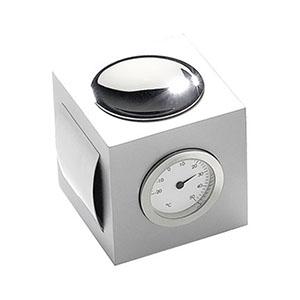 Crazy Ideas - Relógio de mesa analógico com temperatura e porta clipe. Formato quadrado