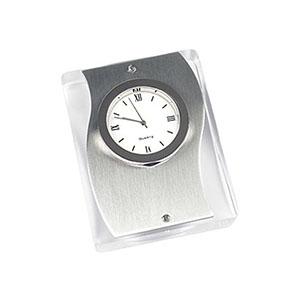 Crazy Ideas - Relógio de mesa analógico em acrílico transparente, parte frontal em metal fosco