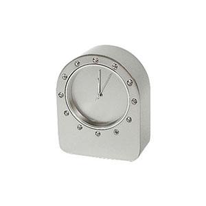 Crazy Ideas - Relógio de mesa analógico em alumínio escovado com detalhe em Strass