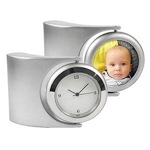 Relógio de mesa analógico com porta retrato em metal com sistema giratório