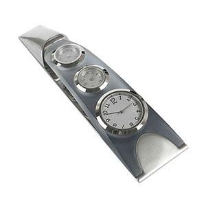 crazy-ideas - Relógio de mesa analógico em metal e acrilíco grafite com funções, relógio, temperatura e umidade